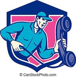 telefone, repairman, telefone segurando, escudo, retro