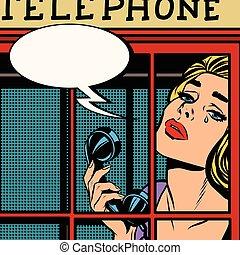telefone, retro, chorando, menina, vermelho, barraca