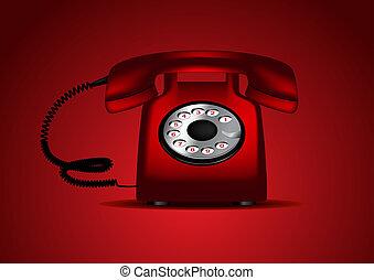 telefone,  retro, Ilustração, vermelho