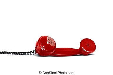 telefone,  retro, vermelho, receptor