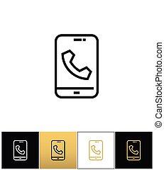 telefone,  ringtone, telefone, vetorial, chamada,  glyphs, ou, ícone