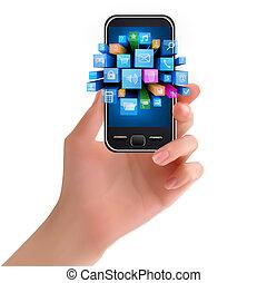 telefone, segurando mão, ícone, móvel