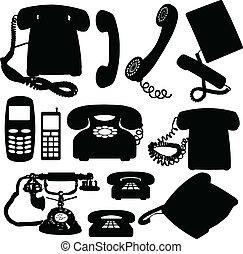 telefone, silhuetas, vetorial