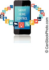 telefone, technol, esperto, casa