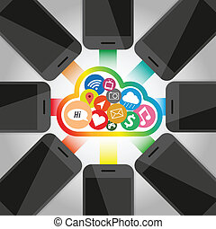 telefone, tecnologia, grupo, nuvem, esperto