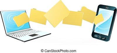 telefone, transferência, laptop, arquivo