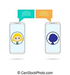 telefone, unbekannt, chating