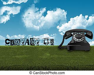 telefone velho, em, capim