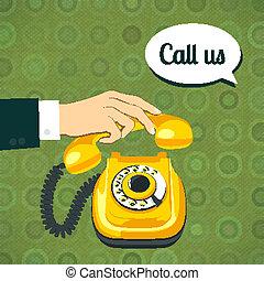 telefone velho, segurando mão