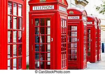 telefone, vermelho, bancas
