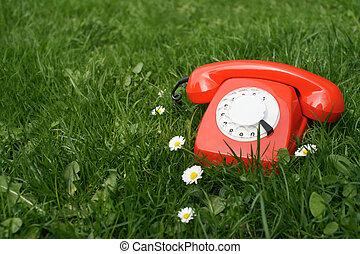 telefone vermelho, em, capim