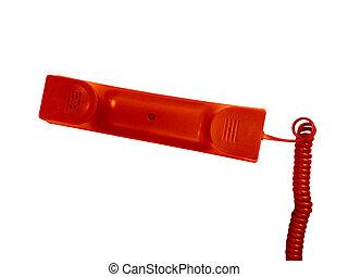 telefone vermelho, receiver.