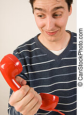 telefone, vermelho, receptor