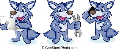 telefone, vetorial, lobo, mascote