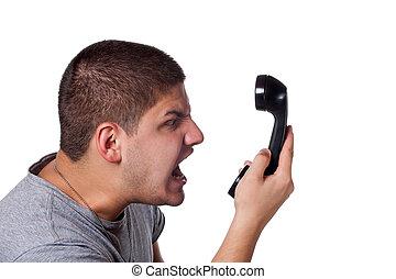 telefone, zangado, conversação