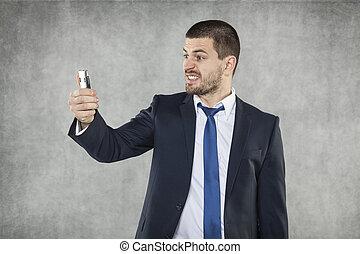 telefone, zangado, seu, homem negócios, mão