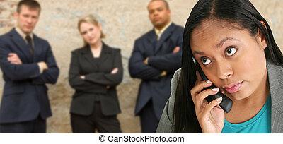 telefoneer vrouw, draadloos, zakelijk