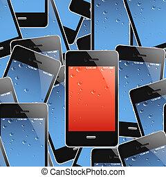 telefoner, bakgrund, seamless, mobil