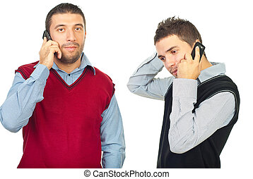 telefoner, män, två, konversation, ha