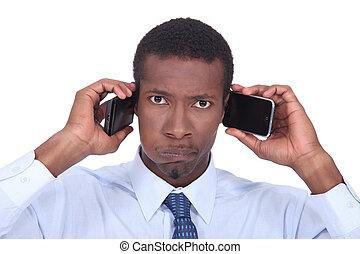 telefoner, två, man