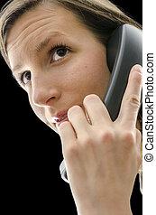 telefonera kvinna, affär, portret