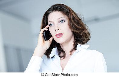 telefonera kvinna, attraktiv, affär