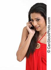 telefonera kvinna, cell, lycklig