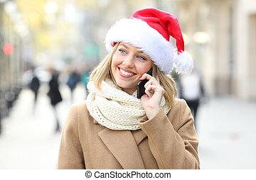 telefonera kvinna, gata, jul, talande