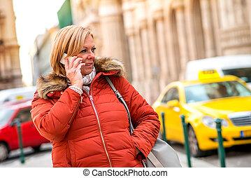 telefonera kvinna, gata, trevlig