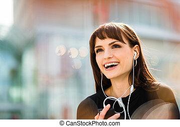 telefonera kvinna, gata, yrke
