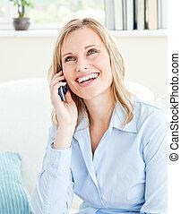 telefonera kvinna, le, talande