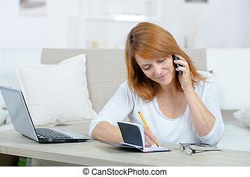 telefonera kvinna, möte, be om