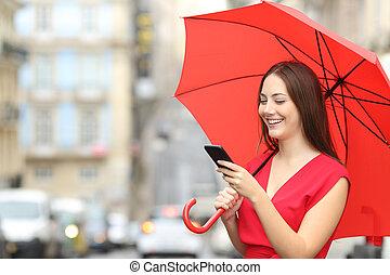 telefonera kvinna, texting, röd, smart