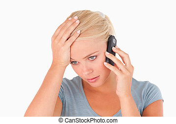 telefonera kvinna, trist