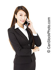 telefonera kvinna, ung, affär, talande