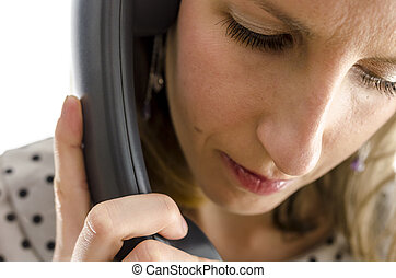 telefonera kvinna, ung, stående