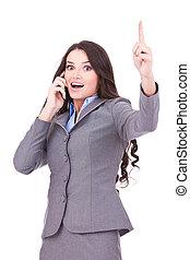 telefonera kvinna, vinnande, affär