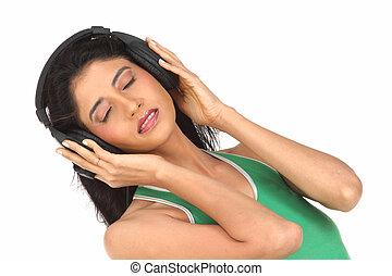 telefones, cabeça, desfrutando, mulher