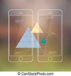 telefones móveis, criativo, infographic, modelo, apresentação, ou
