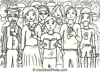 telefones móveis, grupo, pessoas