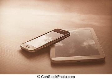 telefones móveis, ligado, a, madeira