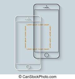 telefones móveis, longo, modelo, infographics, sombra, apresentação, ou