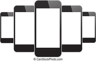 telefones móveis, pretas
