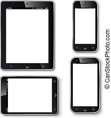 telefones móveis, tela, tabuletas, em branco