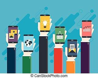 telefones, m?os, vetorial, ilustra??o, de, segurando, inteligentes, levantadas