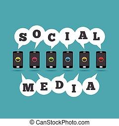 telefones, social, mídia