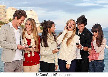 telefoni mobili, adolescenti, cellula, o