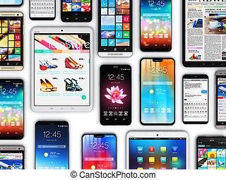 telefoni mobili, computer, tavoletta, smartphones
