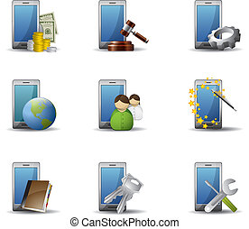 telefoni mobili, set, icona