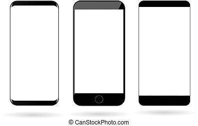 telefoni mobili, vettore, vuoto, mockup